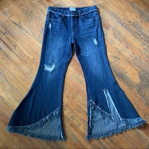 For The Republic Wide Leg Flare Jeans SZ 4